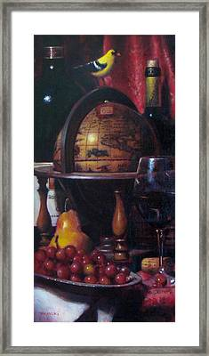 Red Wine With Gold Finch Little Company Framed Print by Takayuki Harada
