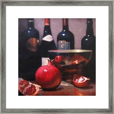 Red Wine With Pomegranates Framed Print by Takayuki Harada