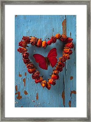 Red Wing Butterfly In Heart Framed Print by Garry Gay