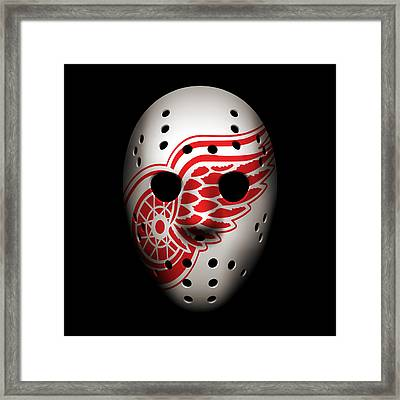 Red Wings Goalie Mask Framed Print