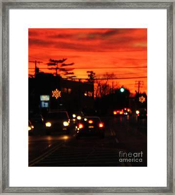 Red Winter Sunset Over Long Island Suburbs Framed Print by John Telfer