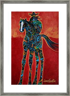 Framed Print featuring the painting Red With Rope by Lance Headlee