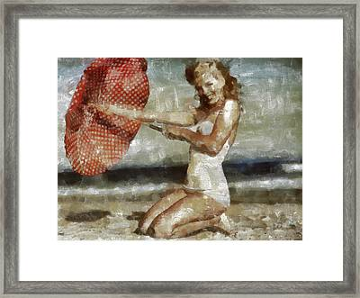 Red With White Polka Dots Framed Print by Leapdaybride