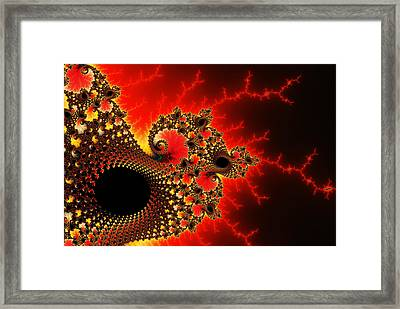 Red Yellow And Black Fractal Flashes And Spirals Framed Print by Matthias Hauser