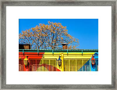 Red Yellow And Blue Building Framed Print by Jess Kraft