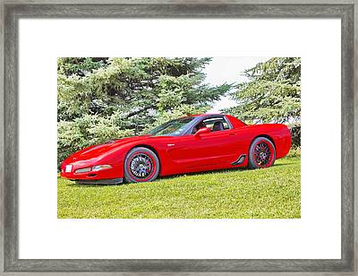 Red Z06 C5 Corvette Framed Print