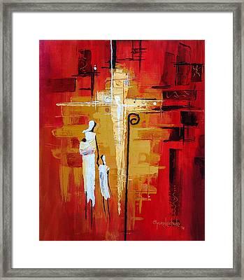 Framed Print featuring the painting Redemption Path by Oyoroko Ken ochuko