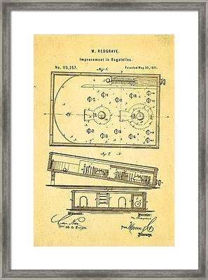 Redgrave Bagatelle Patent Art 1871 Framed Print by Ian Monk