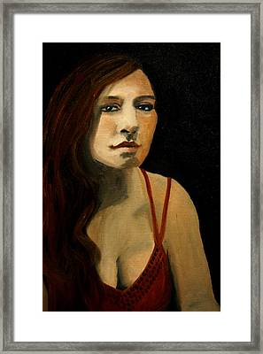 Redhead In Reflection Framed Print