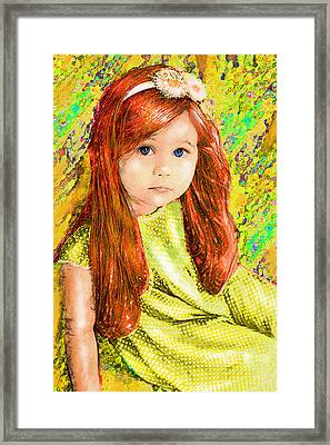 Framed Print featuring the digital art Redhead by Jane Schnetlage