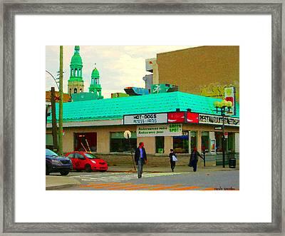 Rediscover Your Greenspot Notre Dame St Henri Dogs Et Frites Urban Food City Scenes Carole Spandau  Framed Print