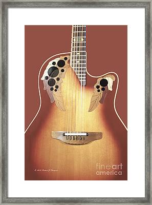 Redish-brown Guitar On Redish-brown Background Framed Print