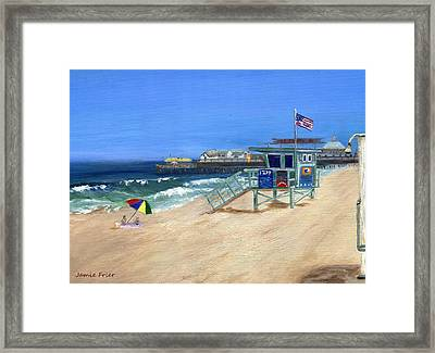 Redondo Beach Lifeguard  Framed Print by Jamie Frier