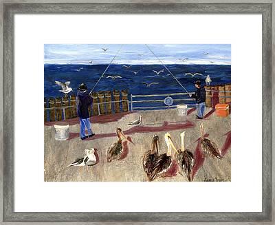 Redondo Beach Pelicans Framed Print by Jamie Frier