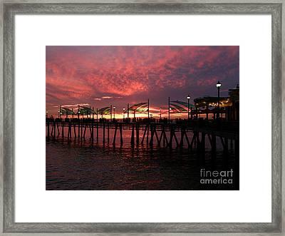 Redondo Beach Pier At Sunset Framed Print by Bev Conover