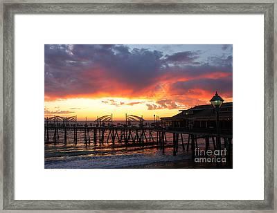 Redondo Pier Sunset Framed Print by Bev Conover
