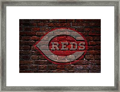 Reds Baseball Graffiti On Brick  Framed Print by Movie Poster Prints