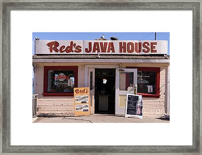 Reds Java House And The Bay Bridge At San Francisco Embarcadero Dsc1863 Framed Print by Wingsdomain Art and Photography