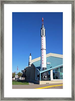 Redstone Rocket At Kansas Cosmosphere. Framed Print