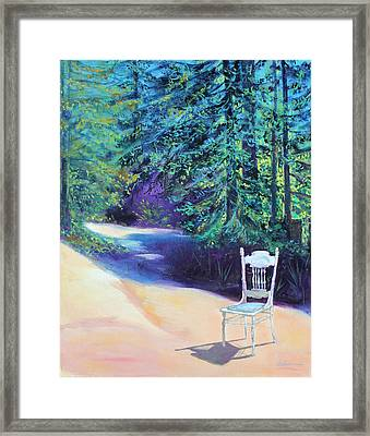 Framed Print featuring the painting Redwood Path And White Chair by Asha Carolyn Young