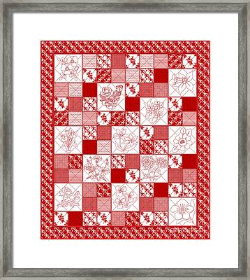 Redwork Floral Quilt Framed Print by Margaret Newcomb
