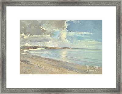 Reflected Clouds Oxwich Beach Framed Print by Timothy  Easton