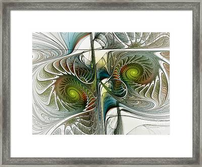 Reflected Spirals Fractal Art Framed Print by Karin Kuhlmann