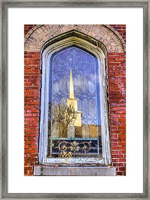 Framed Print featuring the photograph Reflected Steeple by Rebecca Hiatt