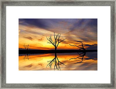 Reflected Sunset Framed Print by David Simons