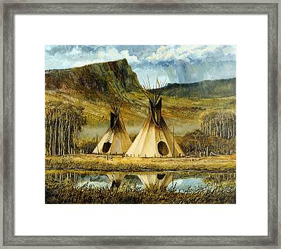 Reflected Tipis Framed Print