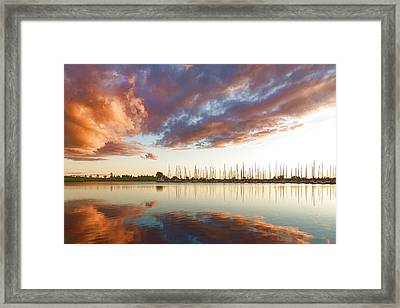Reflecting On Clouds And Yachts - Lake Ontario Impressions Framed Print