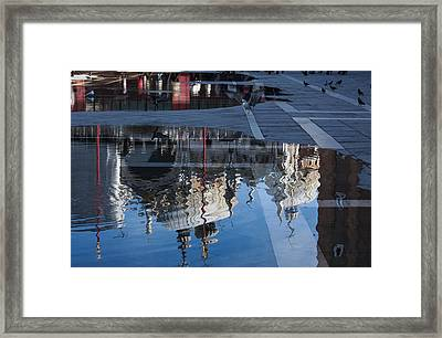 Reflecting On Domes Birds And Puddles - Acqua Alta In Venice Italy Framed Print by Georgia Mizuleva