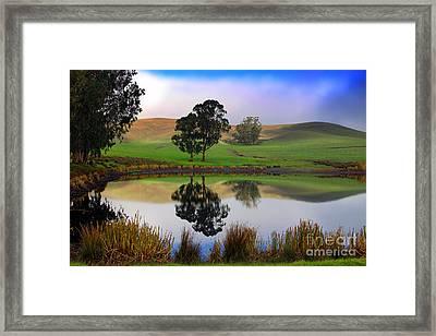 Reflecting Pond In Bucolic Stillness Amongst The Hills Framed Print