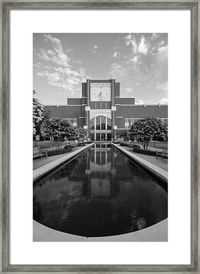 Reflecting Pond Outside Of Oklahoma Memorial Stadium Framed Print by Nathan Hillis