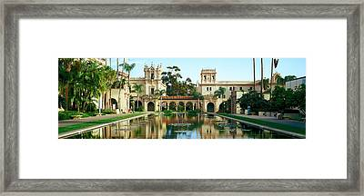 Reflecting Pool In Front Of A Building Framed Print by Panoramic Images