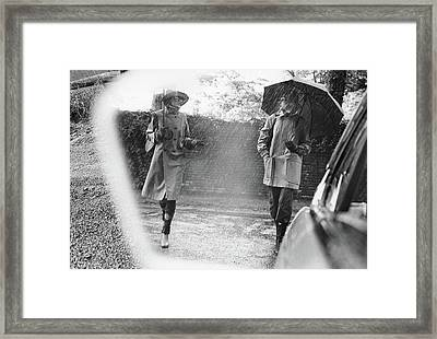 Reflection In A Wing Mirror Of Models Walking Framed Print