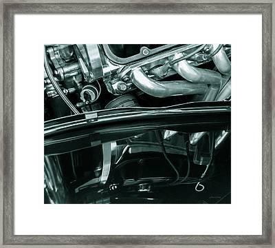 Reflection In Black - Ford Corba Engines Framed Print by Steven Milner