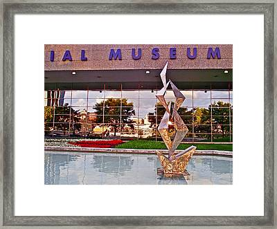 Reflection In Windows Of Gerald R Ford Presidential Museum During Art Prize In Grand Rapids-michigan Framed Print by Ruth Hager