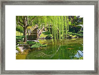 Reflection - Japanese Garden With Moon Bridge And Lotus Pond And Koi Fish. Framed Print by Jamie Pham