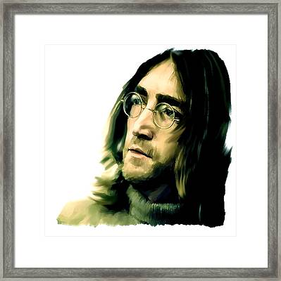 Reflection John Lennon Framed Print by Iconic Images Art Gallery David Pucciarelli