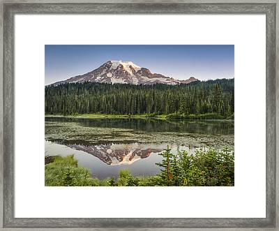 Reflection Lakes At Mount Rainier Framed Print