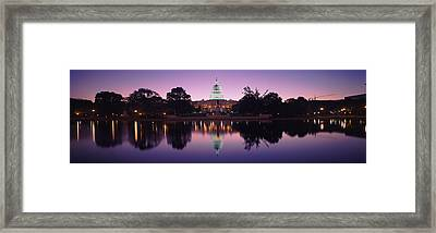 Reflection Of A Government Building Framed Print