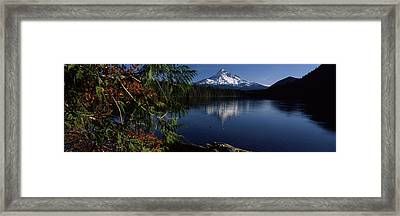 Reflection Of A Mountain In A Lake, Mt Framed Print by Panoramic Images