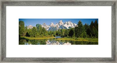 Reflection Of A Snowcapped Mountain Framed Print