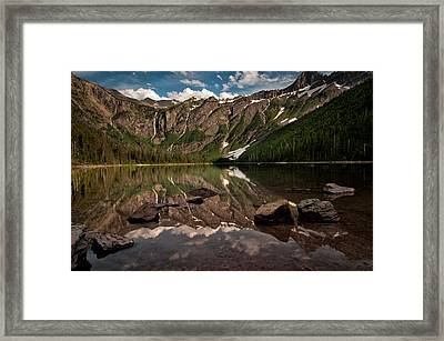 Reflection Of Avalanche Lake Shows The Snow Fed Waterfalls That Feed The Lake Framed Print by Mark Serfass
