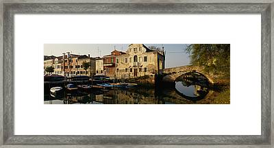Reflection Of Boats And Houses Framed Print