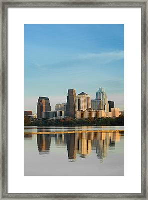 Reflection Of Buildings In Water, Town Framed Print by Panoramic Images