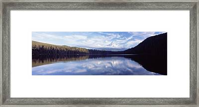 Reflection Of Clouds In A Lake, Mt Hood Framed Print by Panoramic Images
