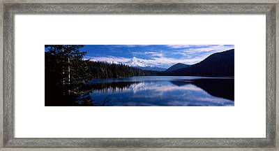 Reflection Of Clouds In Water, Mt Hood Framed Print by Panoramic Images
