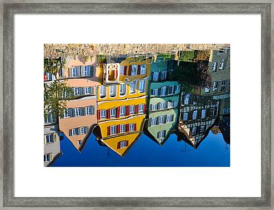 Reflection Of Colorful Houses In Neckar River Tuebingen Germany Framed Print by Matthias Hauser